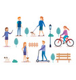 group of people doing activities vector image vector image