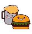 hamburger and beer symbol kawaii cute cartoon vector image vector image