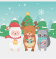 happy merry christmas card with group animals vector image