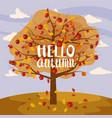 hello autumn apple tree landscape fruit harvest vector image
