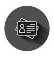 id card icon in flat style identity tag on black vector image