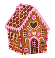 isolated gingerbread house for valentines day vector image vector image