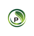 leaf initial p logo design template vector image vector image