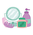 makeup cosmetics product fashion beauty mirror vector image vector image