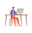male character in headset sitting at table vector image