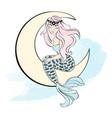 mermaid on moon winter christmas sea ocean vector image vector image