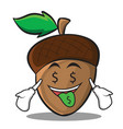 Money mouth acorn cartoon character style vector image