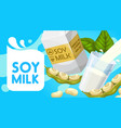 natural organic soy milk healthy diet drink vector image