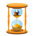 office worker inside the hourglass vector image vector image