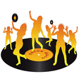 orange dancing on vinyl vector image vector image