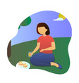 picnic beautiful woman sitting on the blanket vector image
