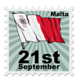 post stamp of national day of Malta vector image vector image