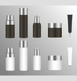 realistic cosmetic bottles set for skin and body vector image vector image