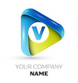 realistic letter v logo colorful triangle vector image vector image