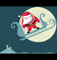 santa with parachute in moon background separate l vector image