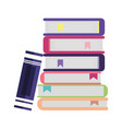 school stacked books isolated icon design vector image