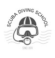 scuba diving emblems or logo diving mask and vector image