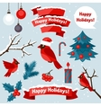 Set of happy holidays decorative elements and vector image