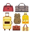 set of travel bags with vector image