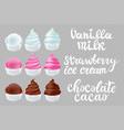 set strawberry vanilla chocolate ice cream in the vector image