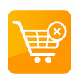 shopping cart with cross sign icon vector image vector image
