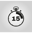The 15 seconds minutes stopwatch icon Clock and vector image vector image