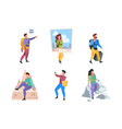 travellers family couples happy people characters vector image vector image