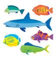 tropical fish water animal cartoon vector image