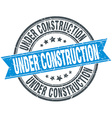 under construction blue round grunge vintage vector image vector image