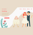 wedding celebration landing web page concept vector image vector image