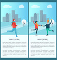 wintertime poster woman jogging skating in park vector image vector image