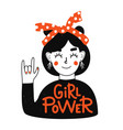 with girl in red headband showing hand rock sign vector image vector image