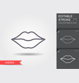 woman lips line icon with editable stroke with vector image