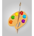 Wooden art palette with paints and brushe vector | Price: 3 Credits (USD $3)