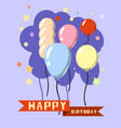 colorful happy birthday in a flat style vector image