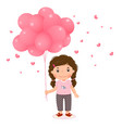 cartoon girl holding pink balloons vector image