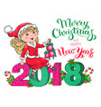 santa claus girl christmas and new year 2018 card vector image