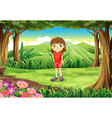 A girl in her red uniform standing at the forest vector image vector image
