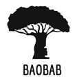 baobab tree icon simple black style vector image vector image