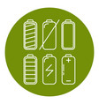 battery icon set in thin line style vector image