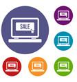 button sale on laptop icons set vector image