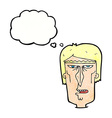cartoon angry face with thought bubble vector image vector image