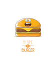 cartoon cute burger character with cheese vector image