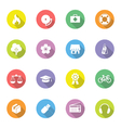Colorful simple flat icon set 6 on circle with lon vector image vector image