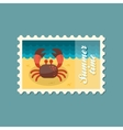 Crab stamp Summer Vacation vector image vector image