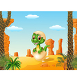 Cute baby tyrannosaurus hatching with prehistoric vector image vector image