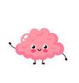 cute healthy happy human brain organ character vector image vector image