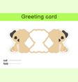 cute pug dog fold-a-long greeting card template vector image vector image