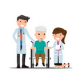 doctor and older man patient in flat style vector image vector image