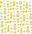 easter chicks tulips and butterflies pattern vector image